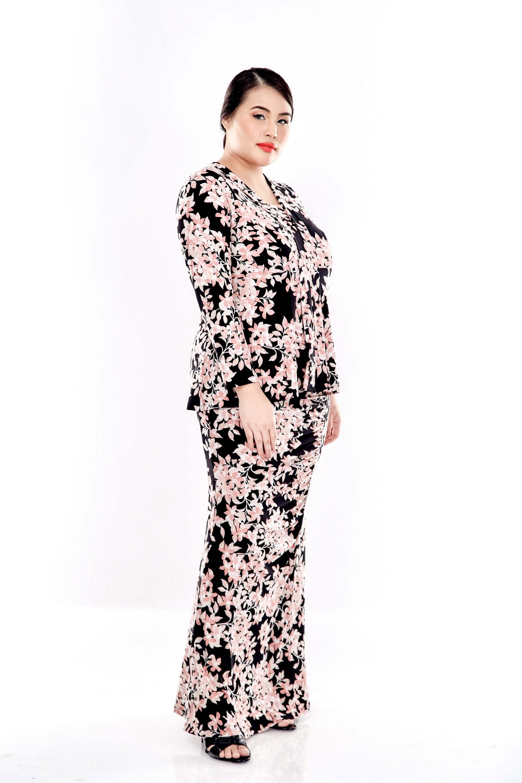 Pink Printed V Neck Long Sleeve Blouse 1