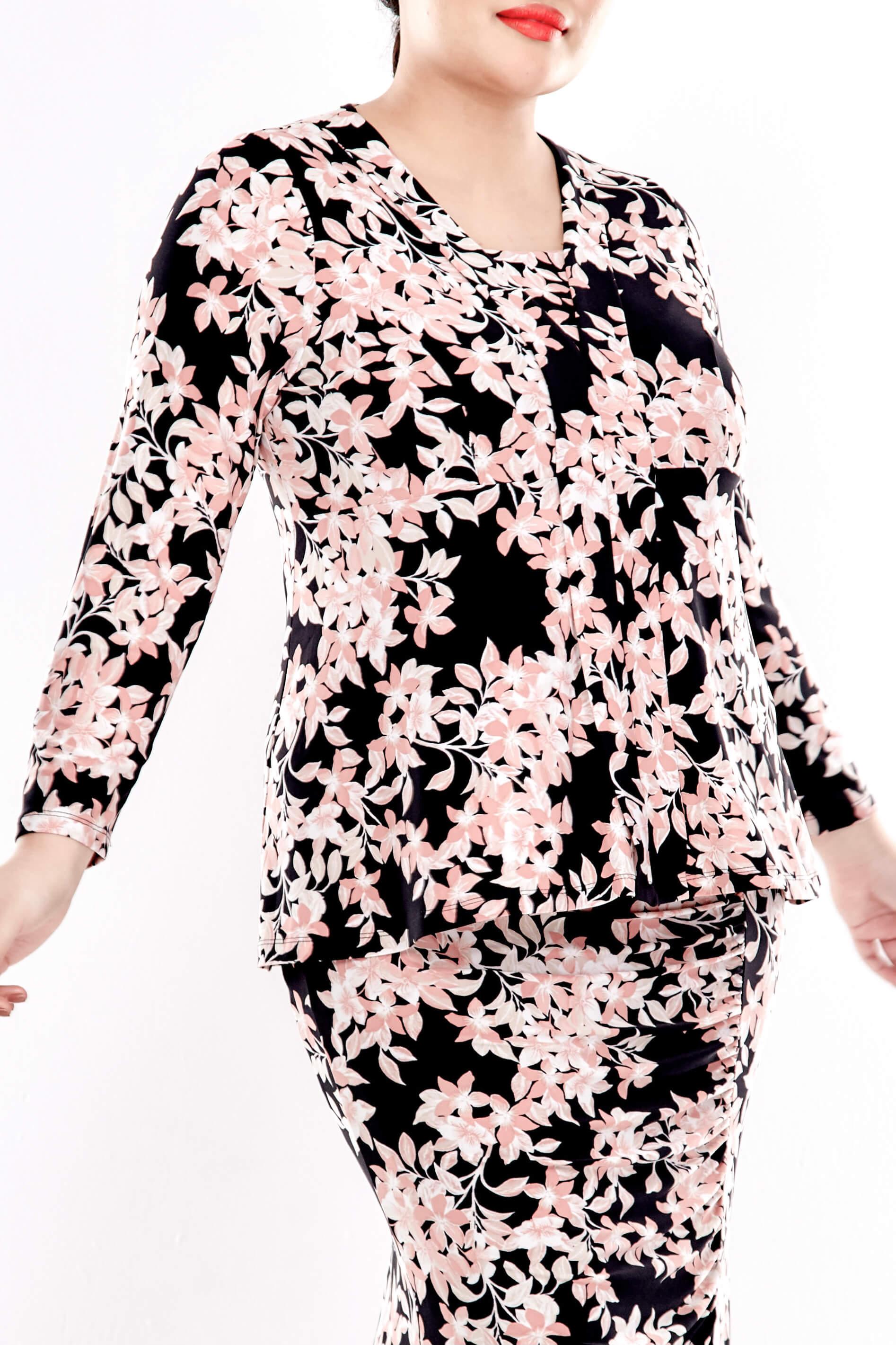 Pink Printed V Neck Long Sleeve Blouse 4