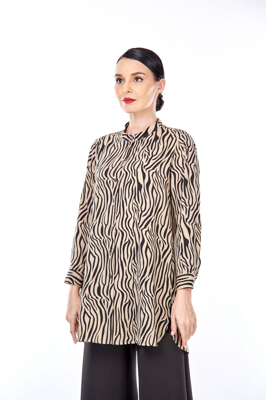 Rella Brown Animal Printed Tunic (2)