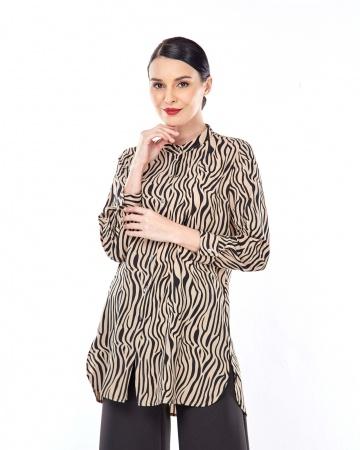 Reela Brown Animal Printed Tunic
