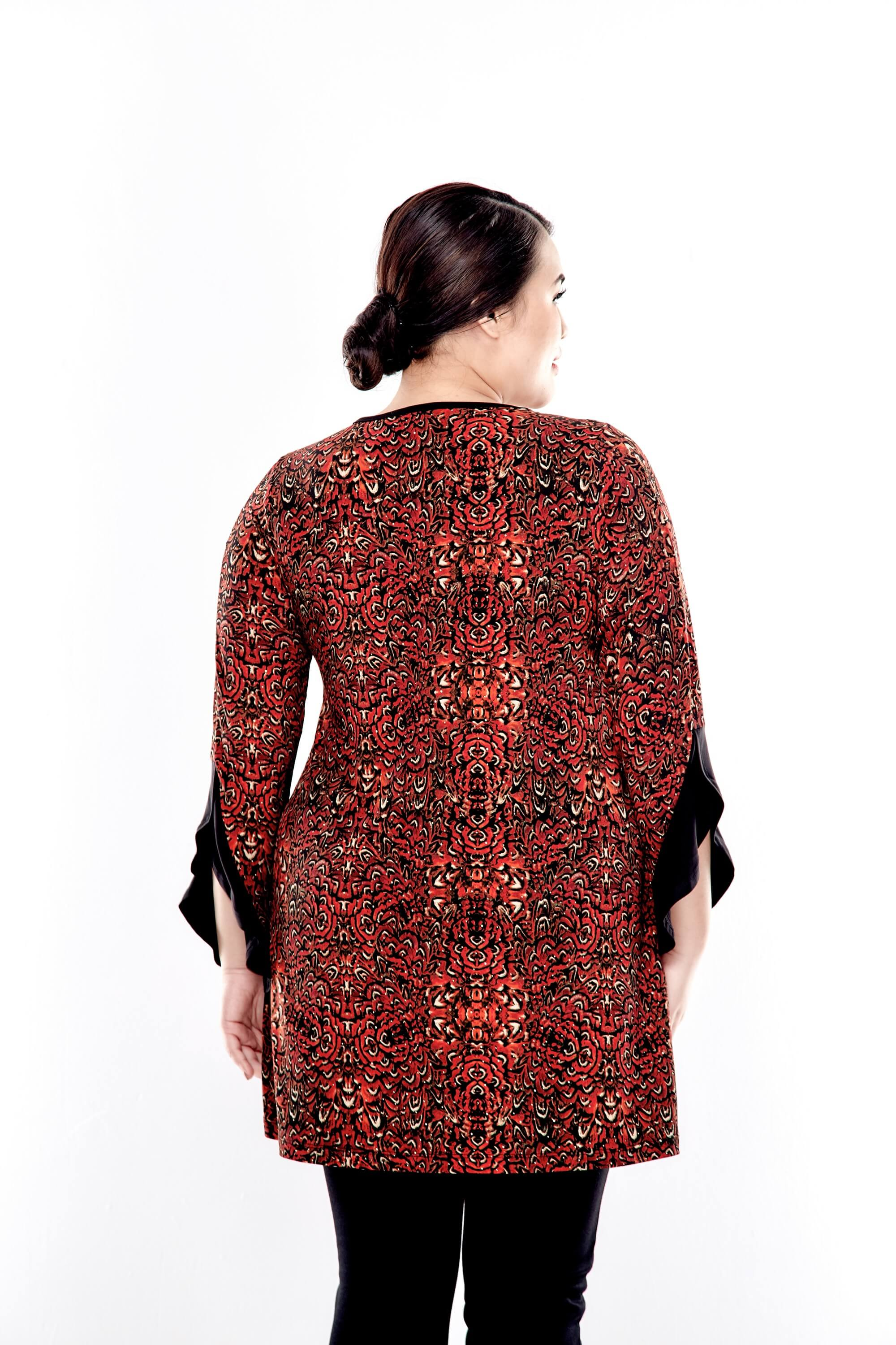 Rusty Brown Printed Round Neck Blouse With Bell Sleeve 1