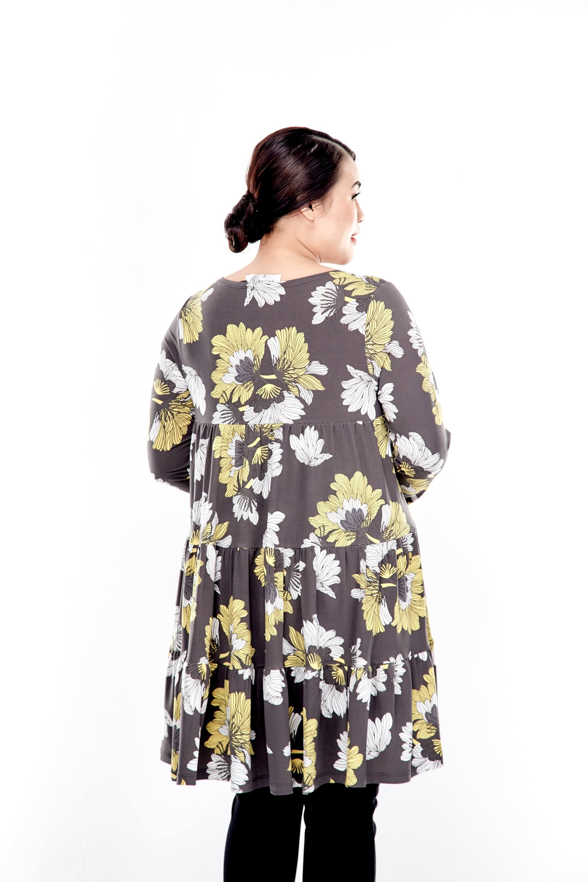 Yellow Printed Long Sleeve Tiered Blouse 1