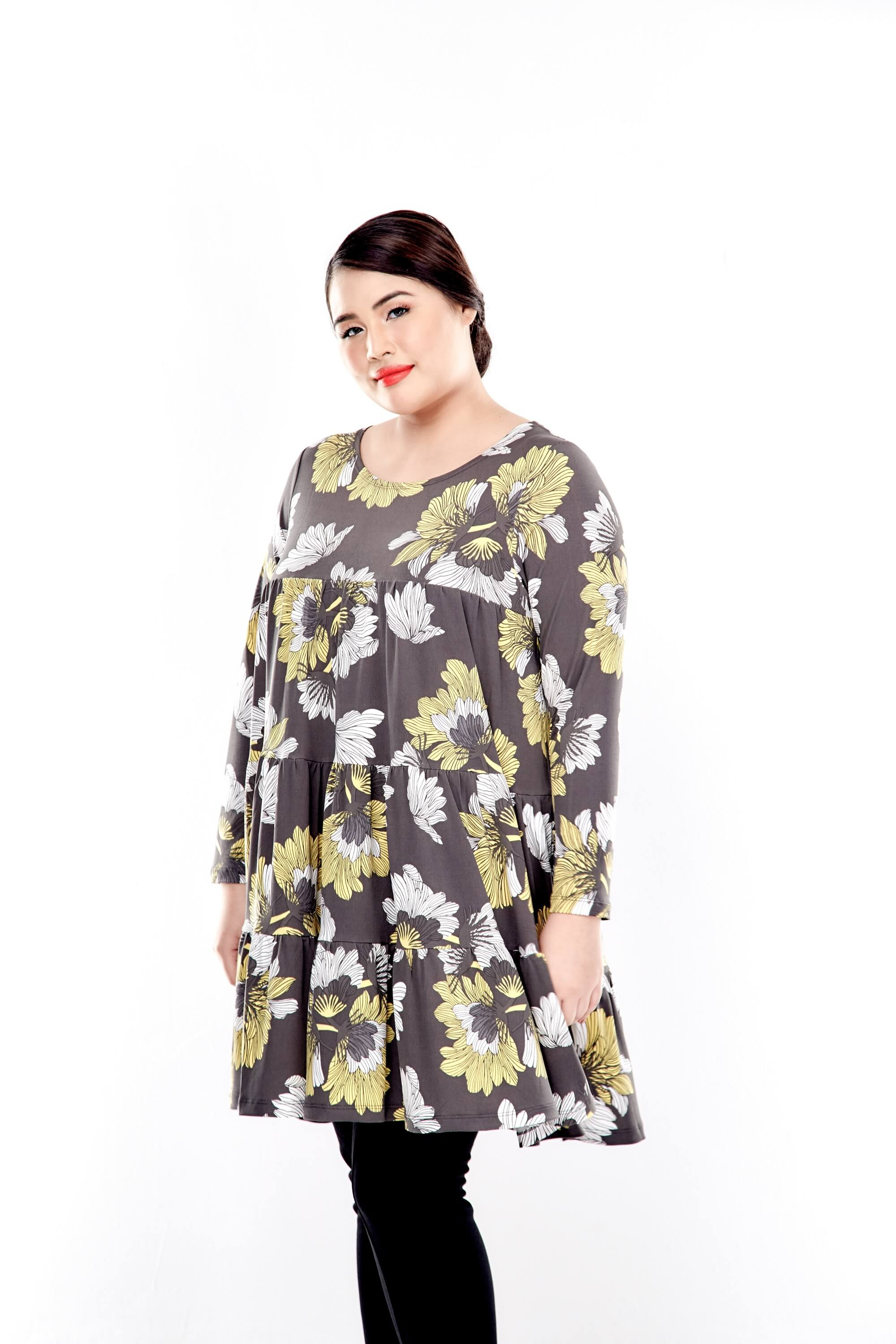 Yellow Printed Long Sleeve Tiered Blouse 2