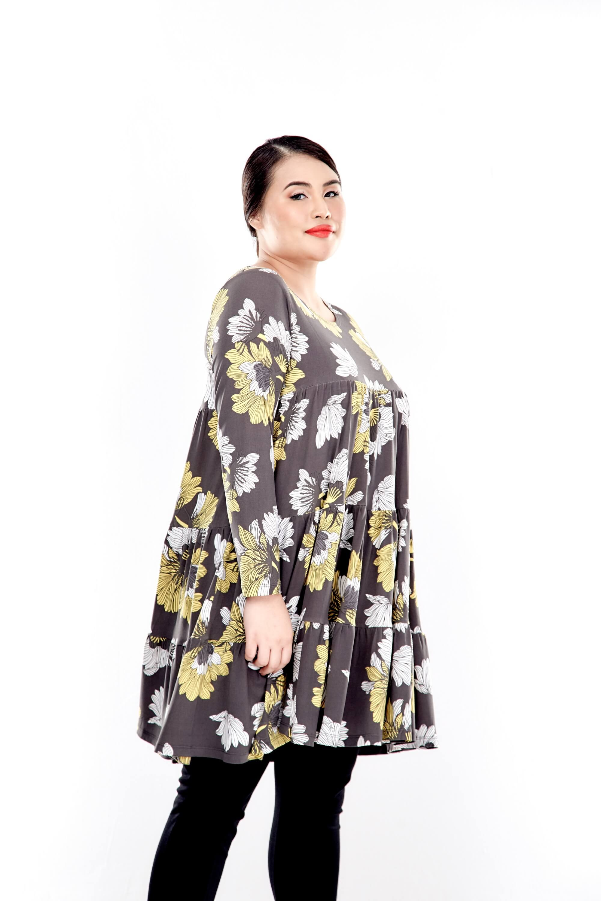 Yellow Printed Long Sleeve Tiered Blouse 3