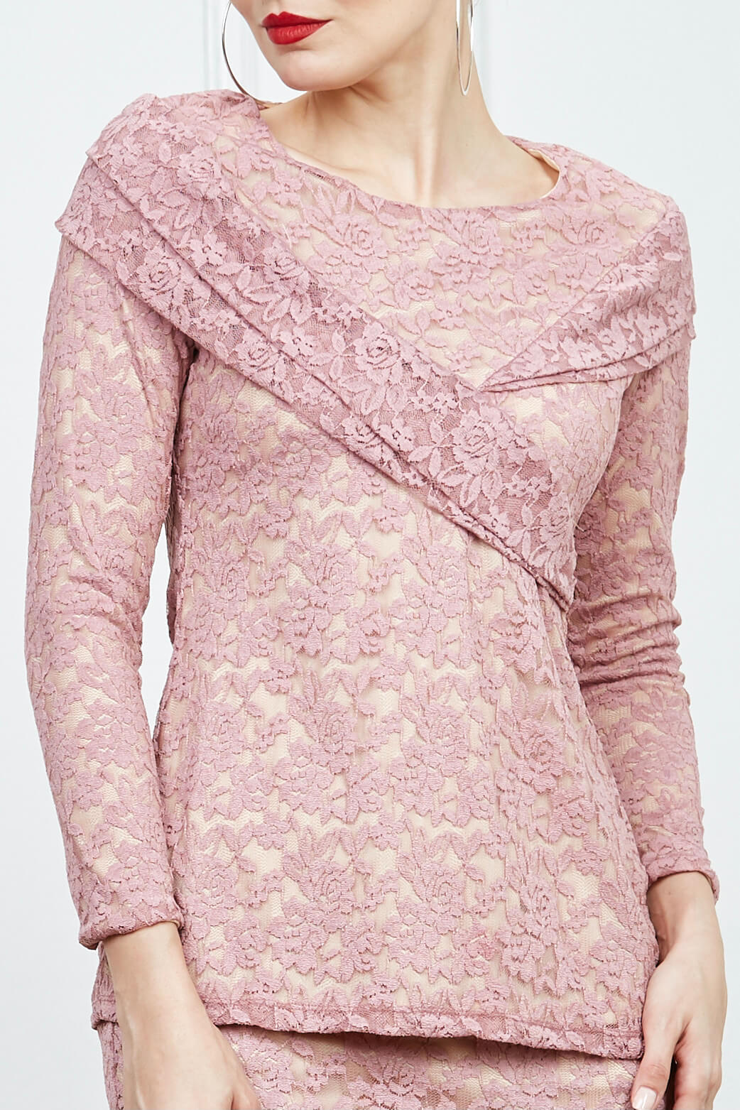 Dusty Pink Lace Blouse