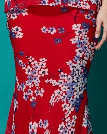 Red Blue Flower Skirt