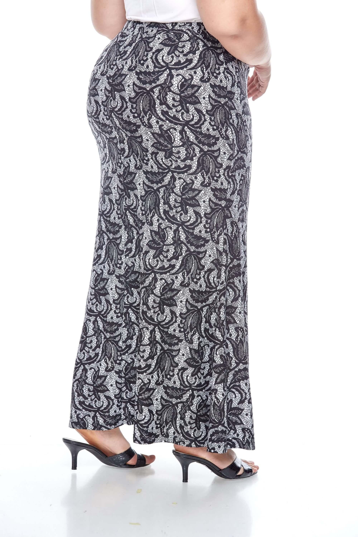 Black Printed Long Skirt 2