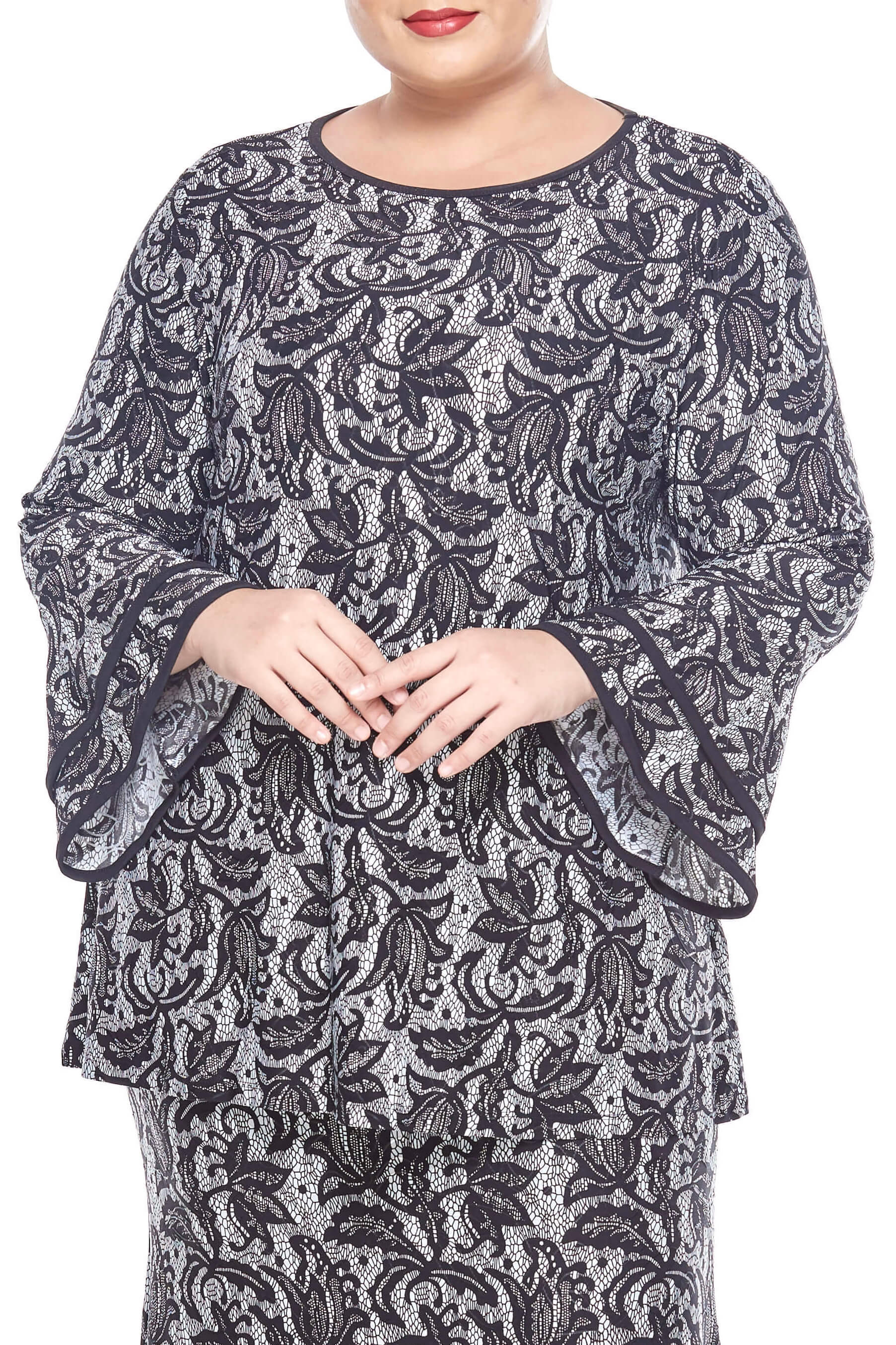 Black Printed Round Neck Blouse With Layers Sleeve 4