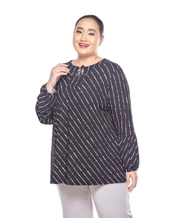 Black Striped Long Sleeve Blouse With Keyhole Tie Front