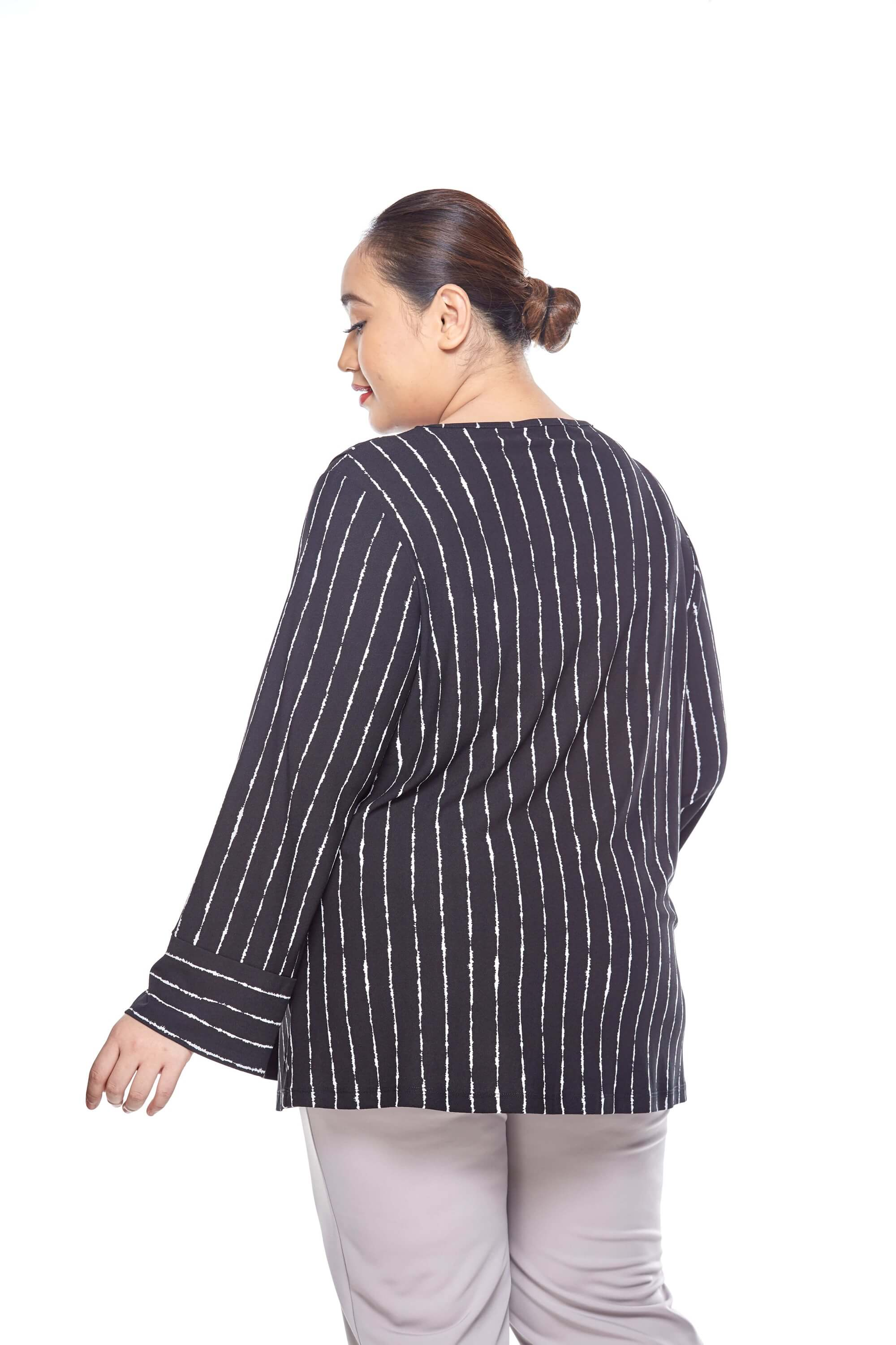 Black Striped Long Sleeve Blouse With Overlap Front 1