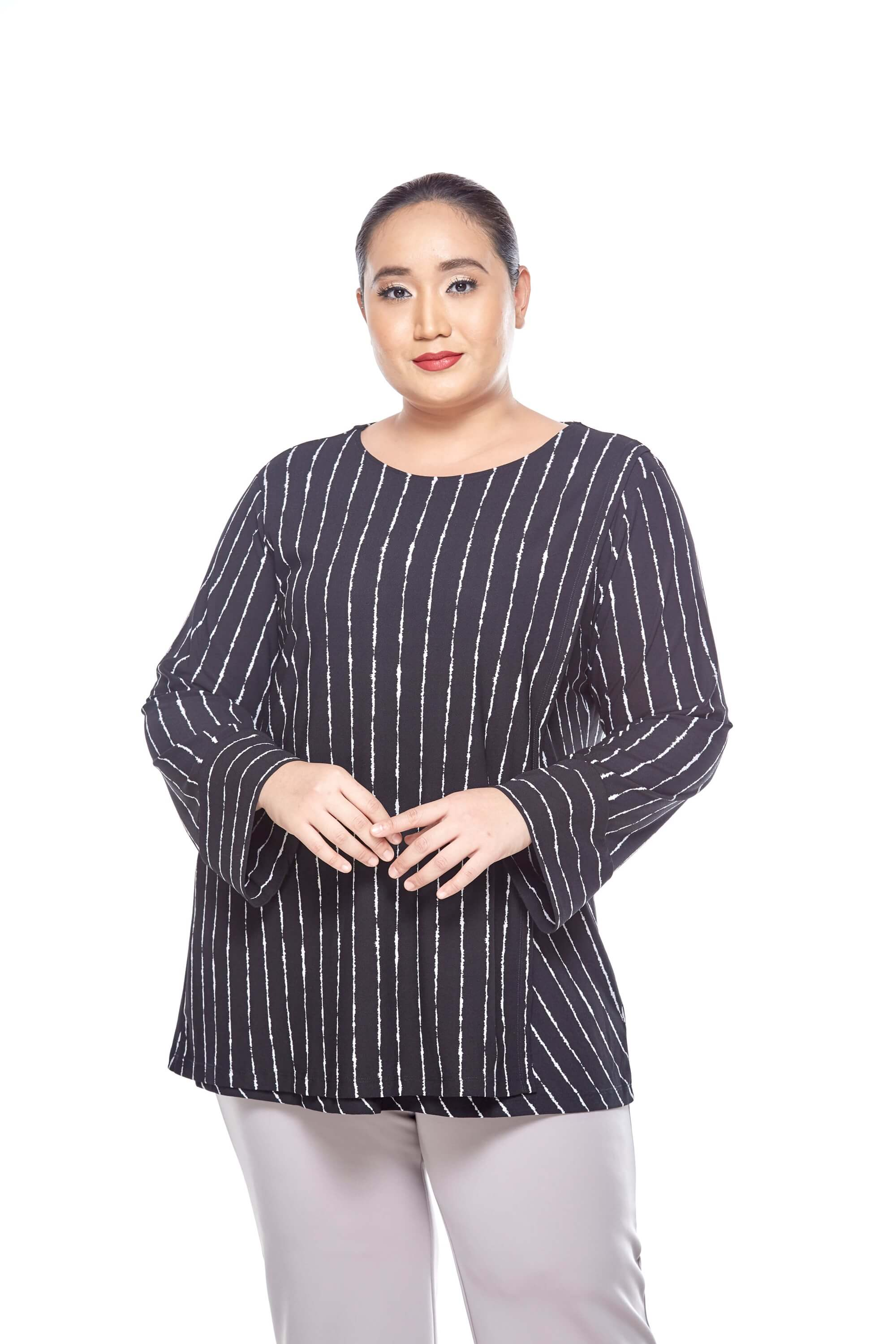 Black Striped Long Sleeve Blouse With Overlap Front 2
