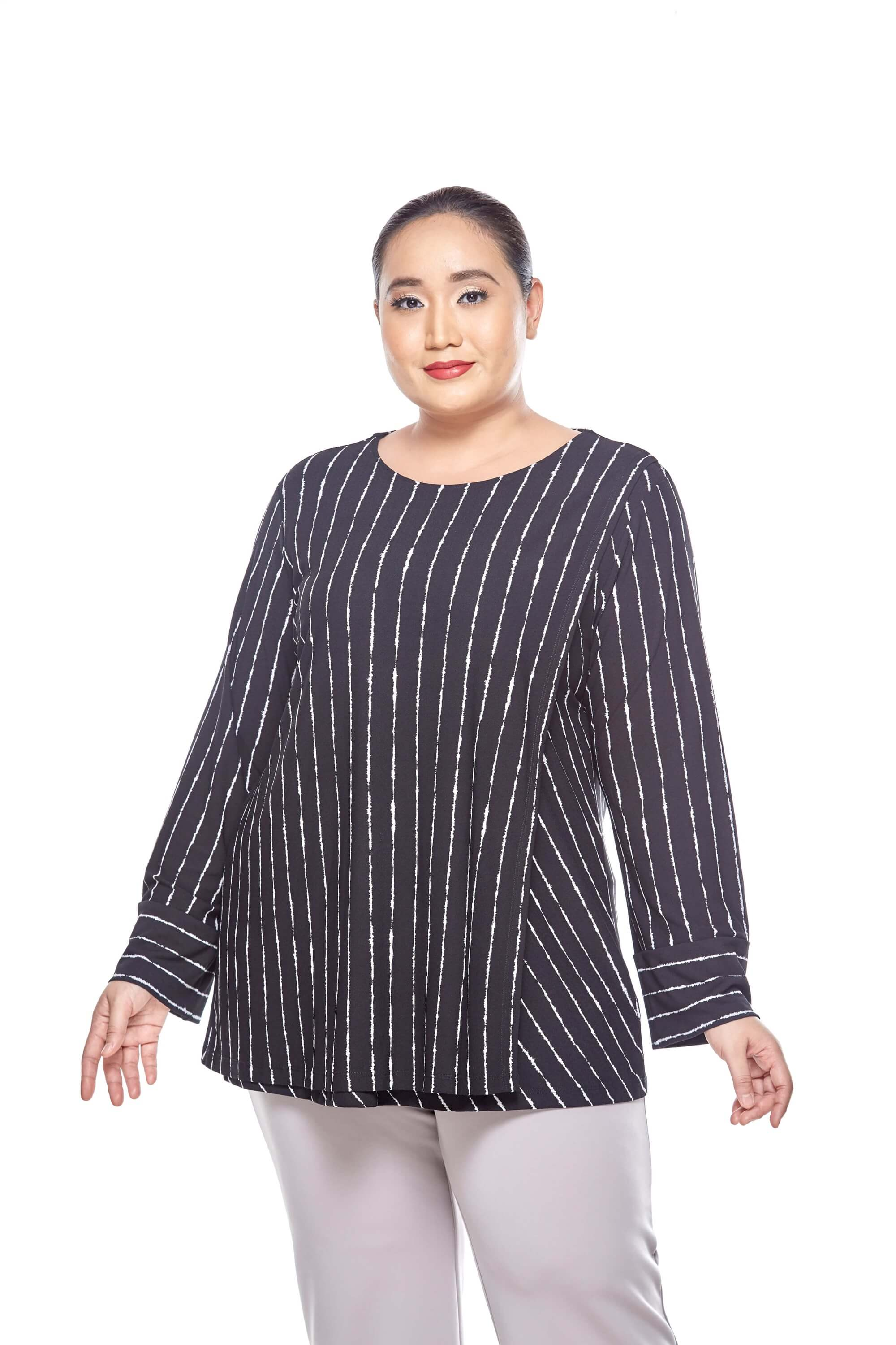Black Striped Long Sleeve Blouse With Overlap Front 3