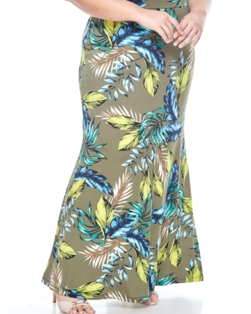 Green Printed Long Skirt