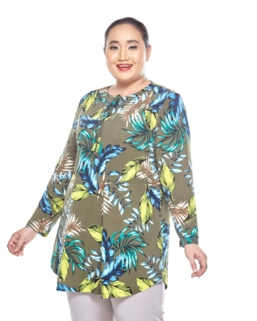 Green Printed Long Sleeve Blouse With Keyhole Front