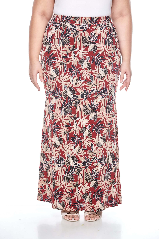 Maroon Printed Long Skirt 1