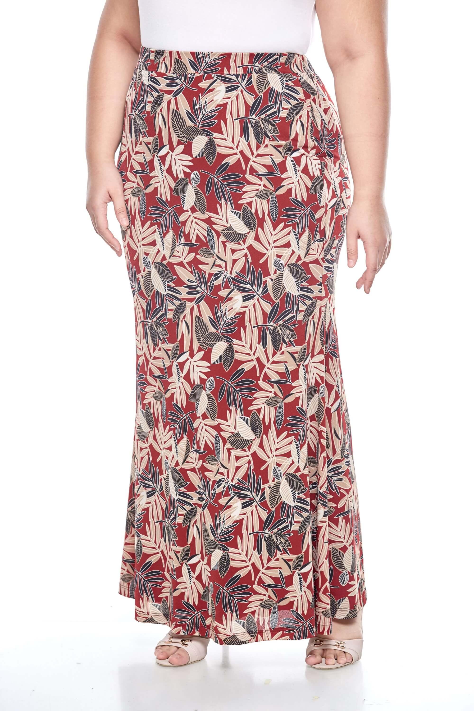 Maroon Printed Long Skirt 2