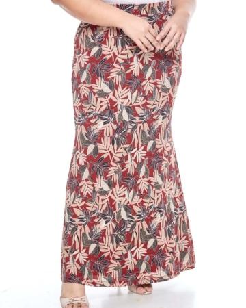 Maroon Printed Long Skirt
