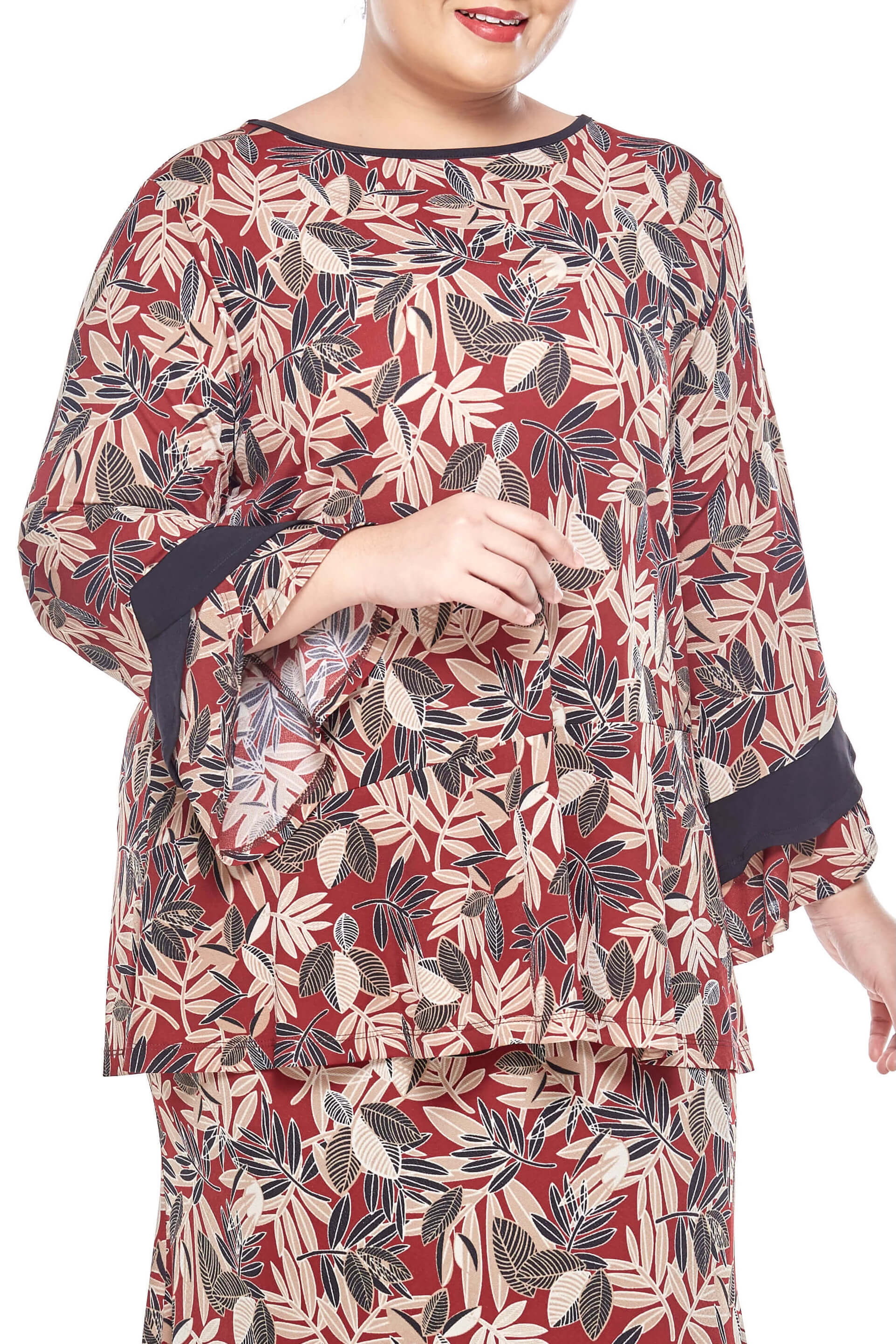 Maroon Printed Long Sleeve Blouse With Flare Bottom 4
