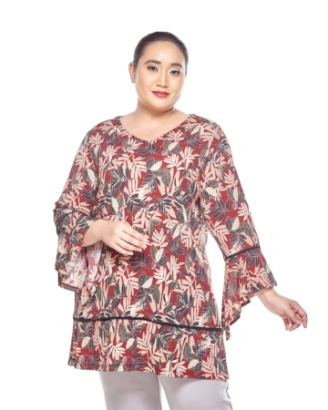 Maroon Printed V-Neck Blouse With Flare Sleeve