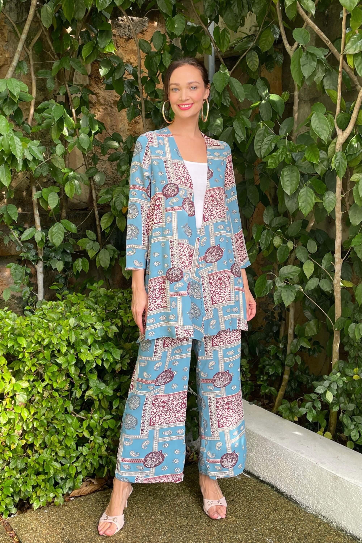 Sister Blue Printed Set Cardigan + Wide Leg Pants 1