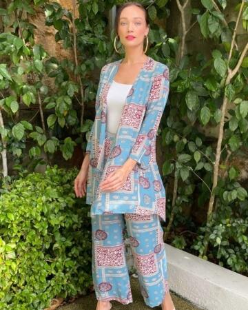 Sister Blue Printed Set Cardigan + Wide Leg Pants