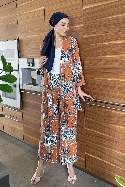Sister Orange Printed Set Cardigan + Wide Leg Pants 3