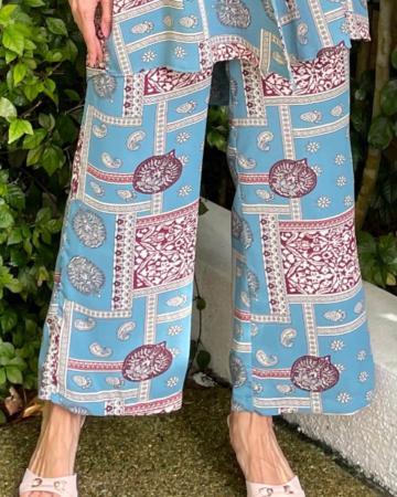 Sister Blue Printed Wide Leg Pants