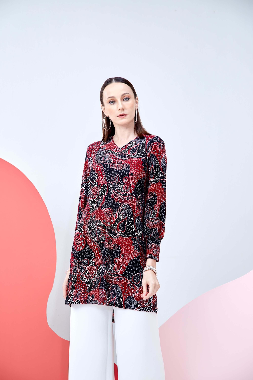 Syifa Red Printed Tunic 2