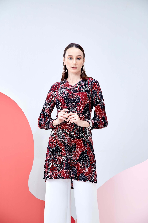 Syifa Red Printed Tunic