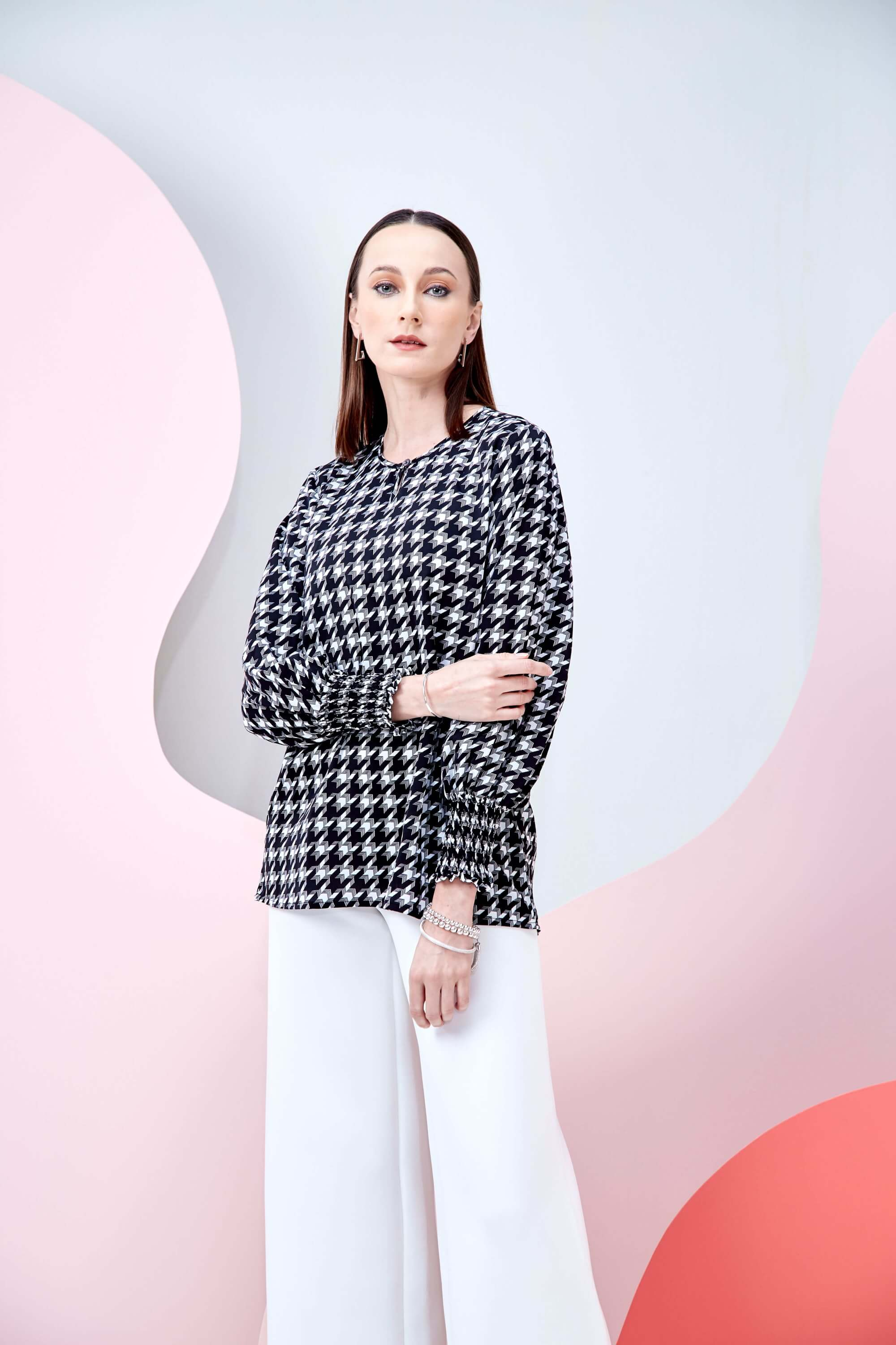 Wynna Black Houndstooth Blouse 1