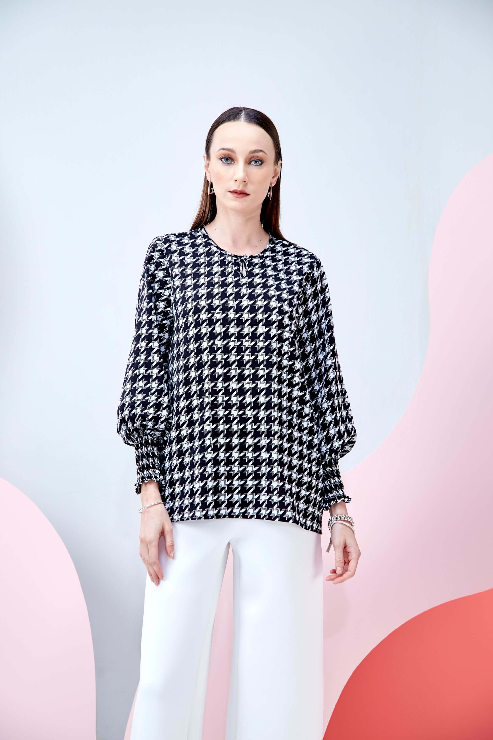 Wynna Black Houndstooth Blouse 2