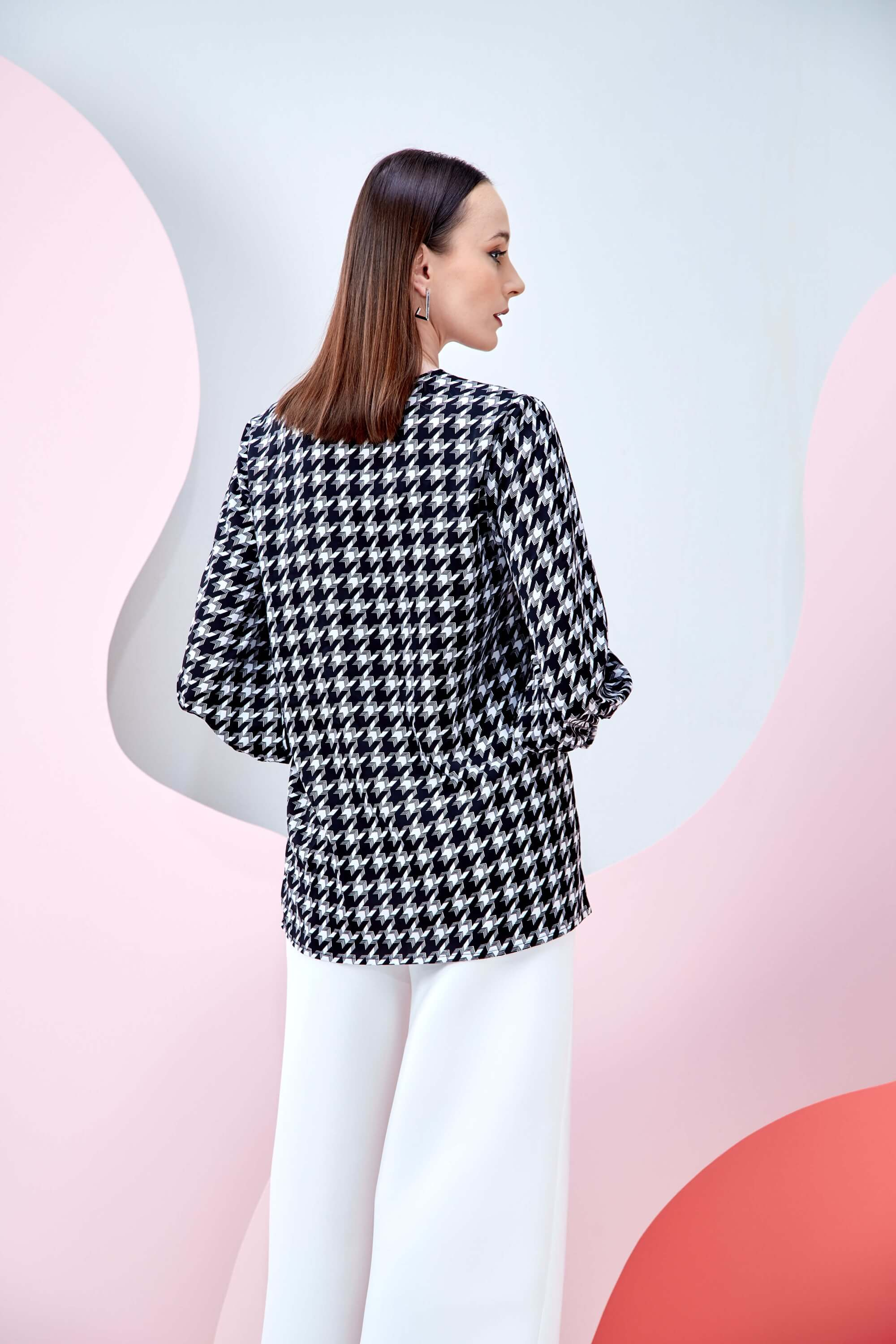 Wynna Black Houndstooth Blouse 3